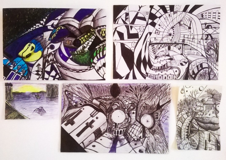 A series of abstract drawings