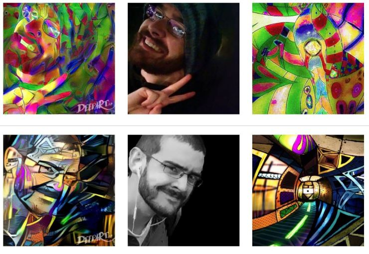 A series of images demonstrating styles being transferred to portraits using neural-processing