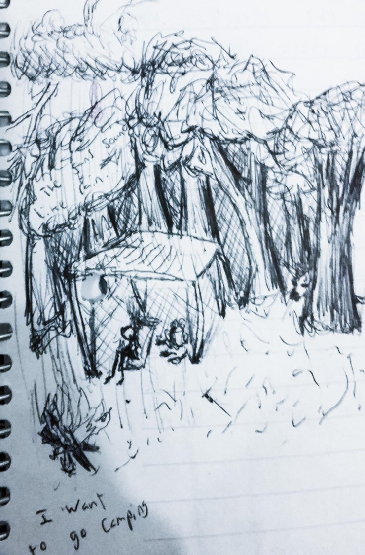 A scratchy sketch of a stick-man camping in a forest under the rain.