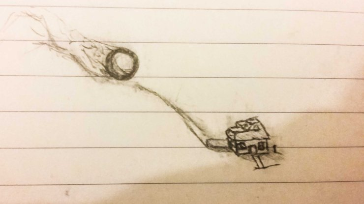 A tiny sketch on lined paper of a house about to be crushed by a boulder